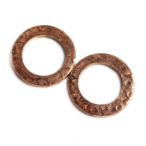 18mm Copper Ring Set of 2 pieces Embossed Eye Pattern