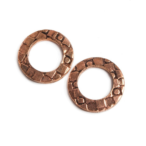 Best buying 16mm Copper Ring Set of 2 pieces Embossed Dot & Square Pattern - Buy From The Bead Traders Online Store.