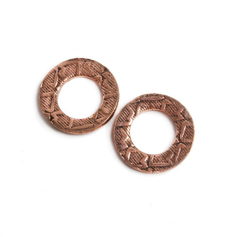14mm Copper Ring Set of 2 pieces Embossed Arrow Pattern