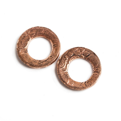 14mm Copper Ring Set of 2 pieces Embossed Circular Pattern