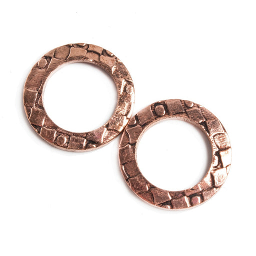 18mm Copper Ring Set of 2 pieces Embossed Dot & Square Pattern