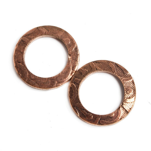 18mm Copper Ring Set of 2 pieces Embossed Whisp Pattern