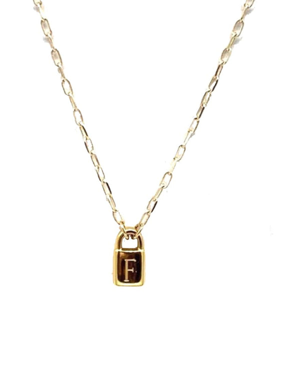FARRAH B INITIAL LOCK NECKLACE