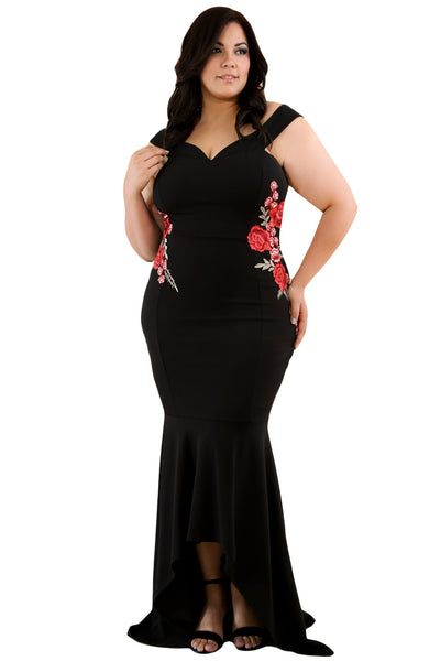 Plus Size Embroidery Floral Mermaid Maxi Dress