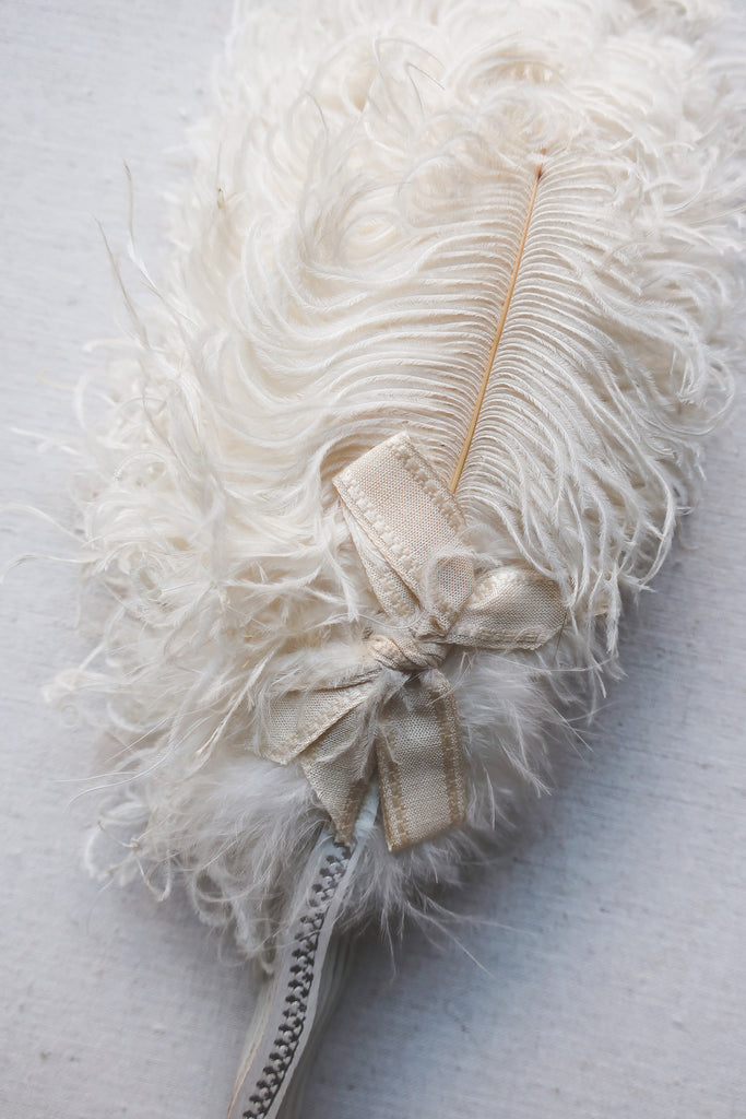 Antique Early 20th Century Ostrich Feather Opera Fan