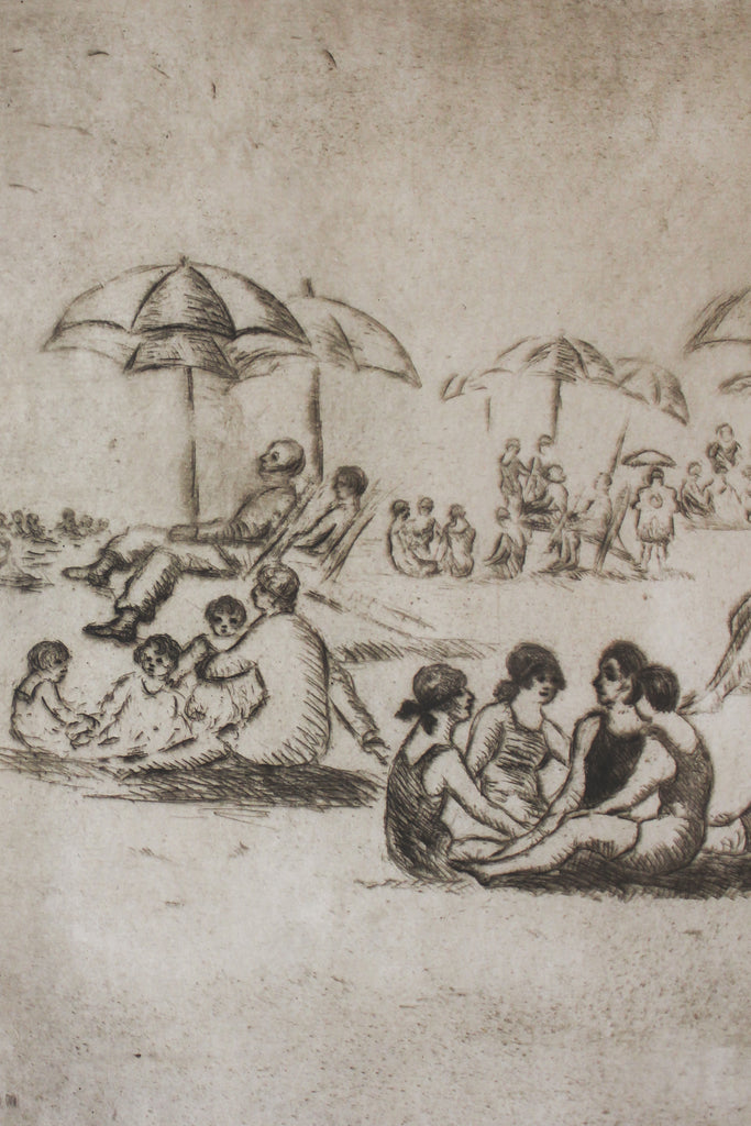 1920s Sun Bathers Framed Etching Art