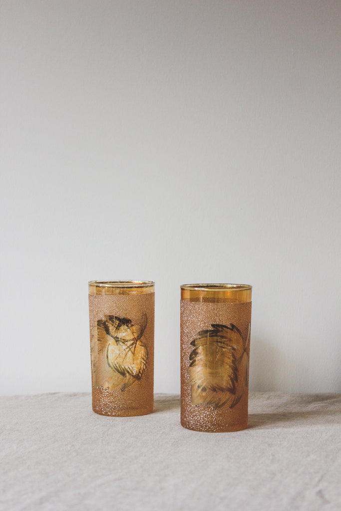 Vintage Blush Leaf Motif Glasses, Set of 2