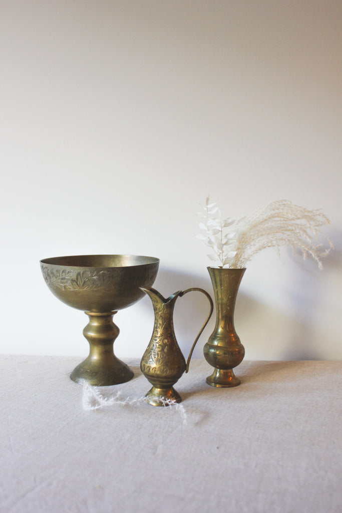 Vintage Brass Inlay Vases Set | No. 1