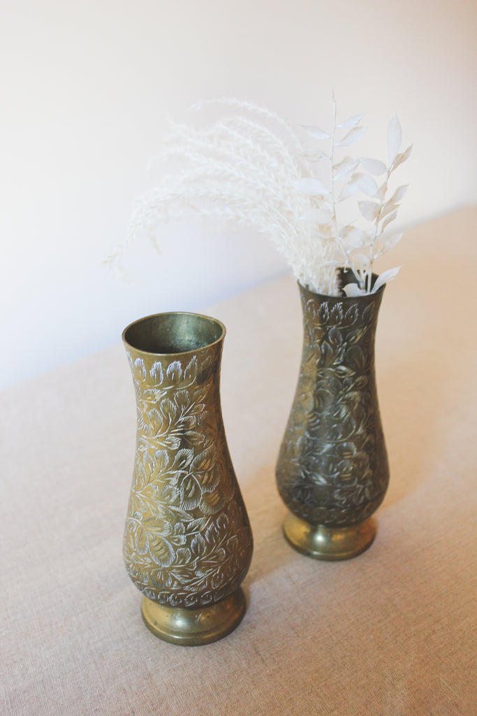 Vintage Brass Inlay Vases Set | No. 2