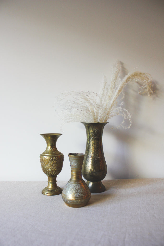 Vintage Brass Inlay Vases Set | No. 4