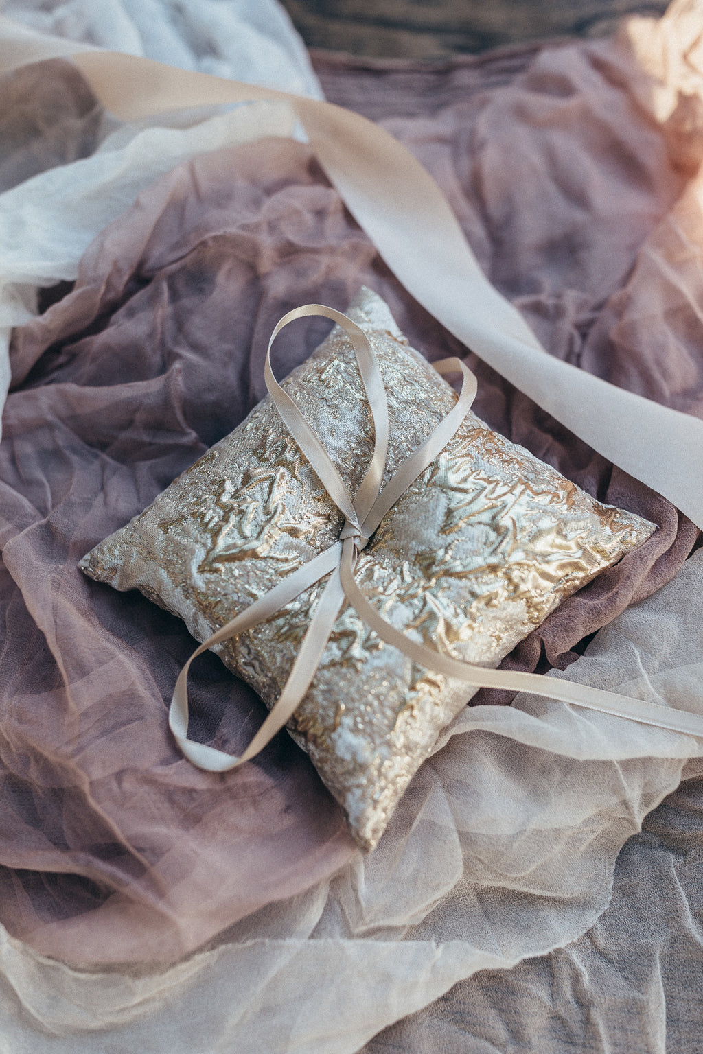 Golden Brocade Ring Bearer Pillow