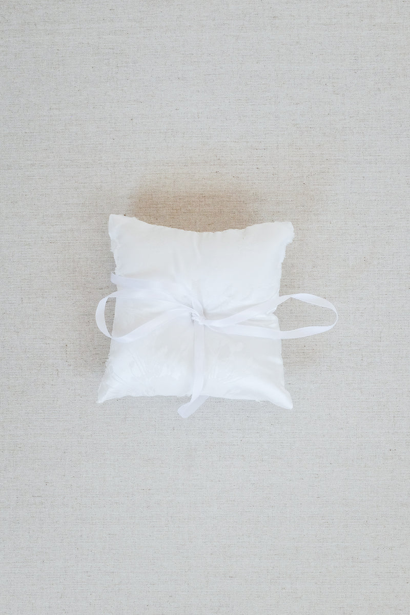 White Floral Brocade Ring Bearer Pillow