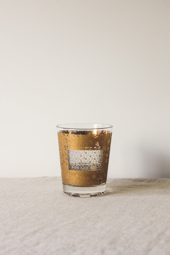Oversized Gold Deco DOF Vintage Cocktail Glass