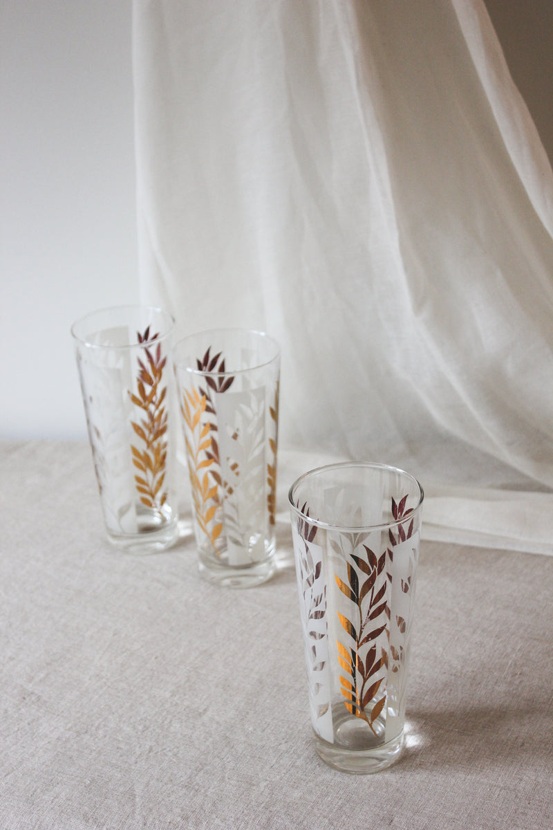 Vintage Gold Falling Leaves Glasses, Set of 2
