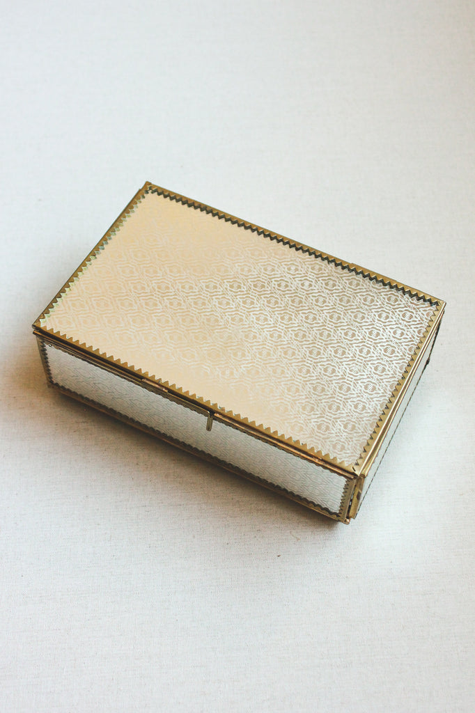Vintage Mirrored Jewelry or Wedding Card Box