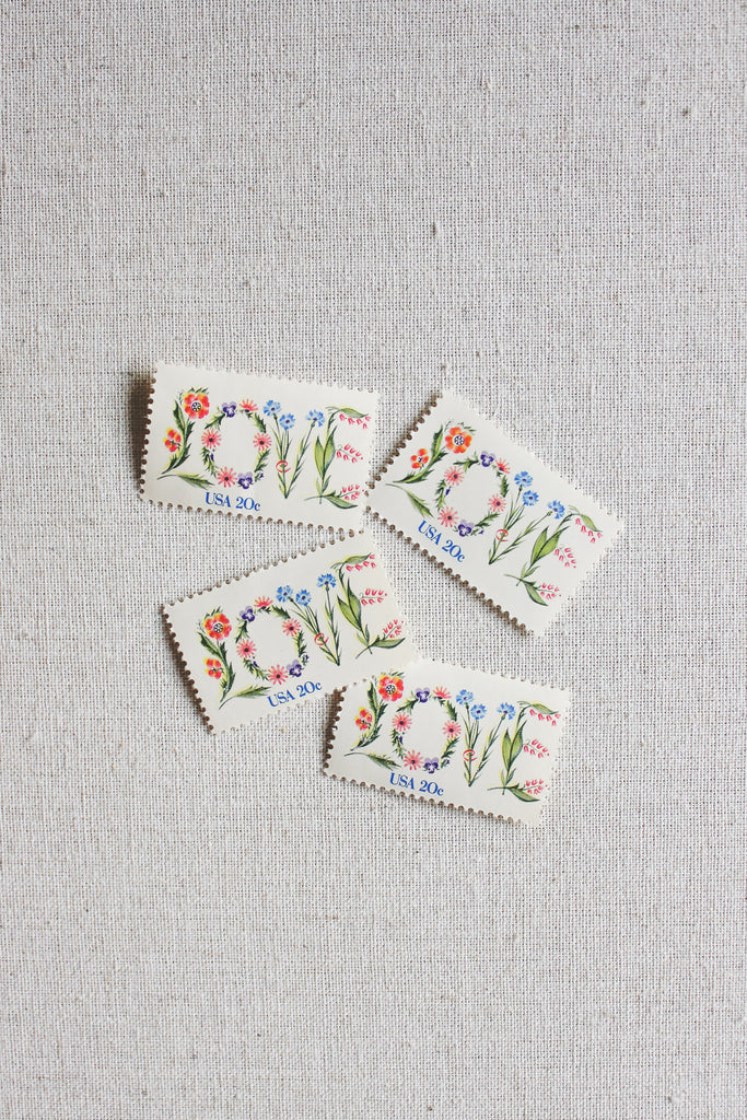 Love Vintage Stamps, Set for 5 Letters