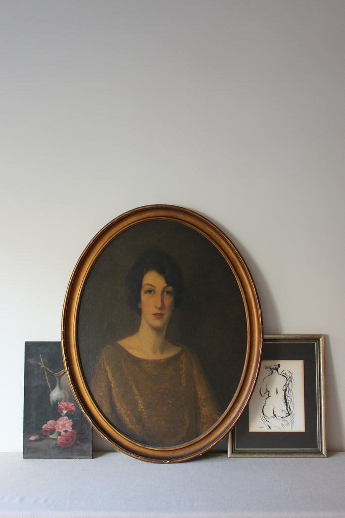 Antique Portrait of A Victorian Lady Oil Painting