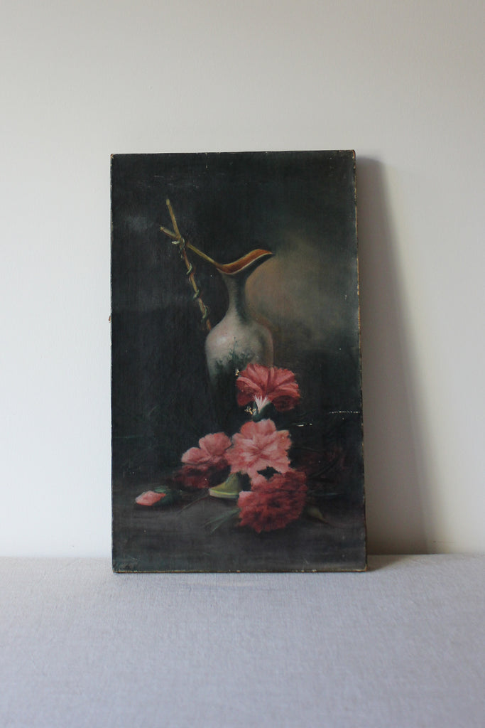 Antique Floral Still Life Oil Painting