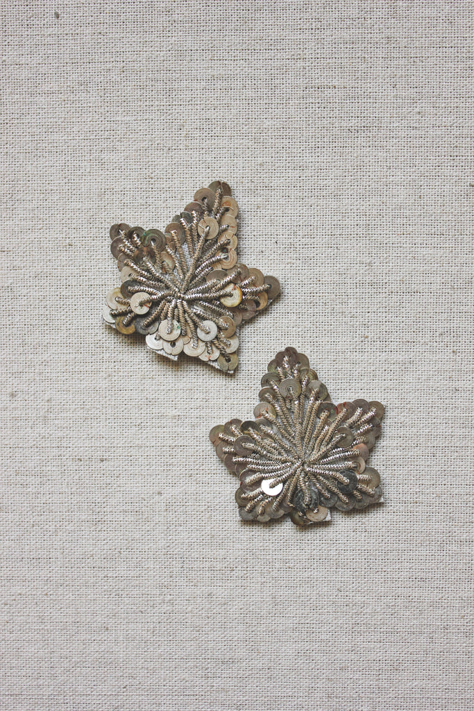 Vintage Embroidered Silver Leaf