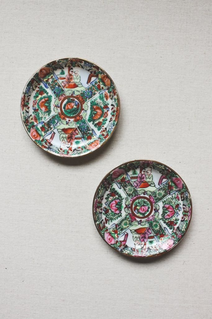 Porcelain Ware Rose Medallion Trinket Dish Set