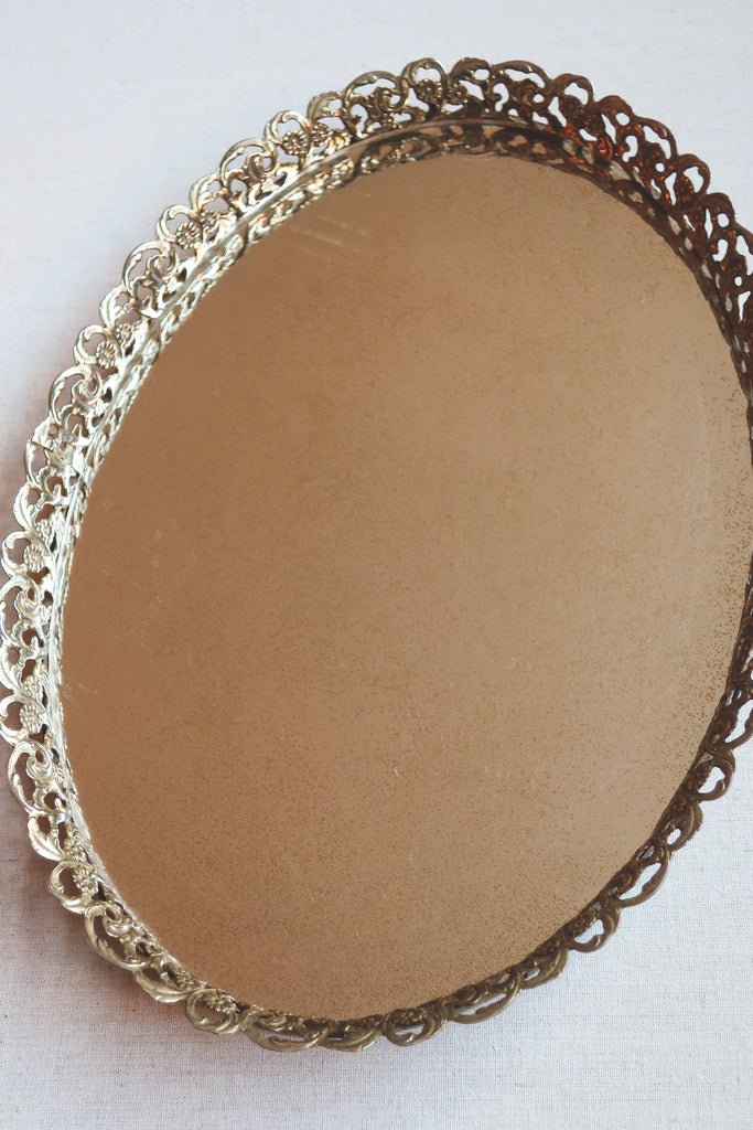 Vintage Oval Mirrored Vanity Tray