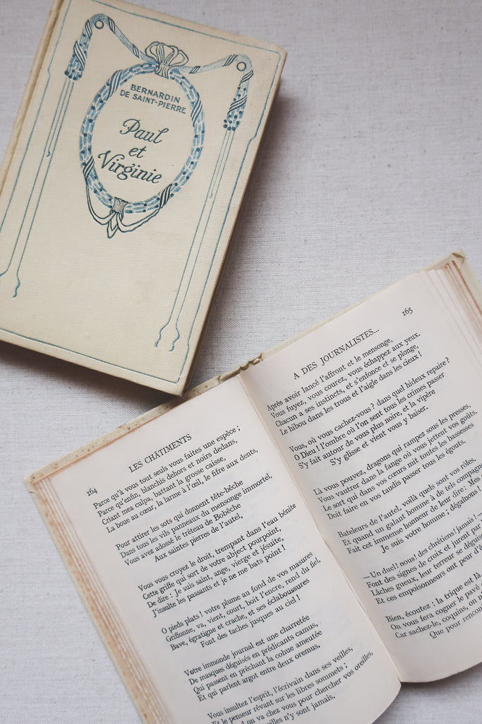 Ornately Covered Vintage French Books, Set of 2