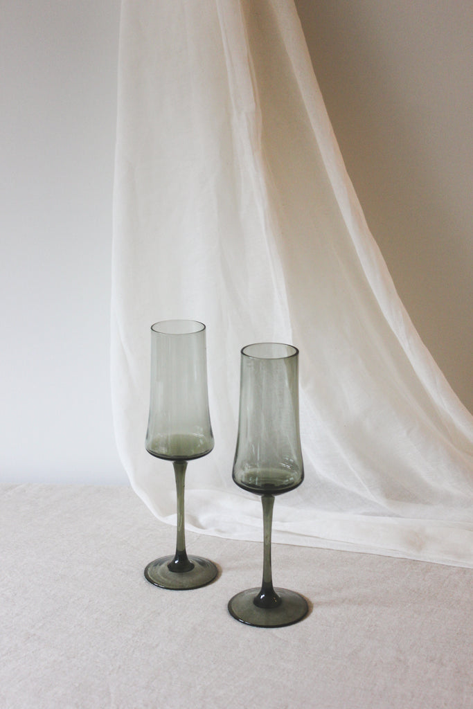 Mid Century Smokey Green Toasting Glasses, Set of 2