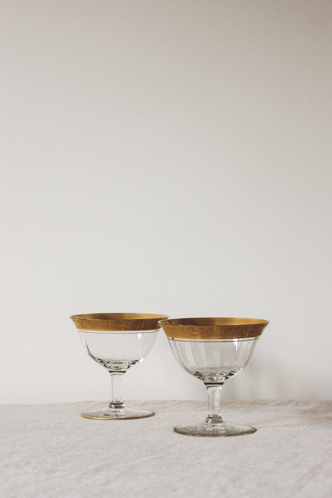 Vintage Gold Floral Toasting Coupes, Set of 2