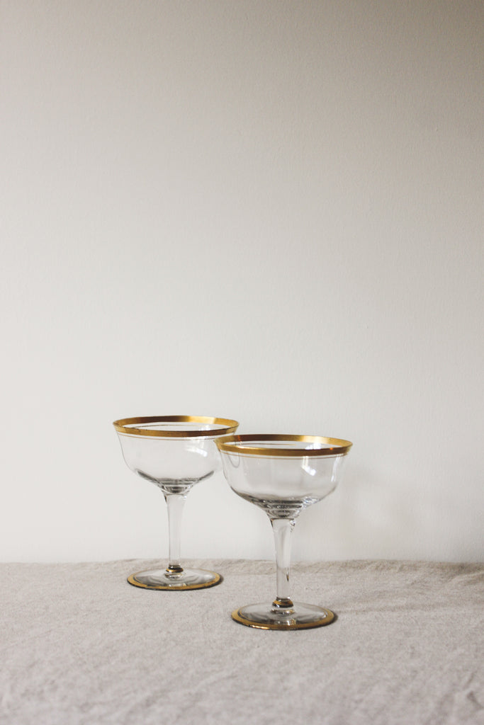 Vintage Thin Gold Rimmed Champagne Coupe Toasting Glass