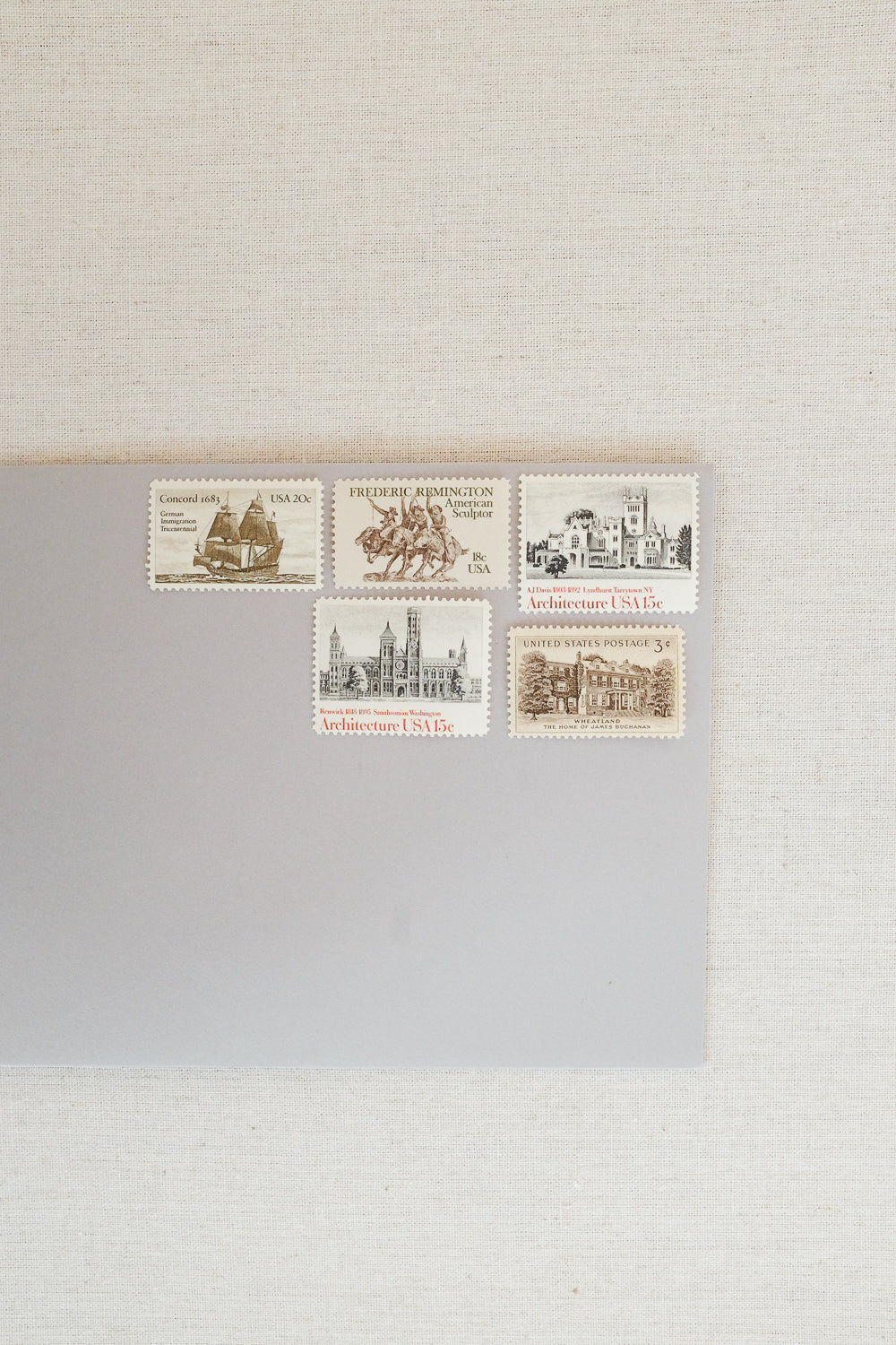 Tonal Vintage Postage Stamps, Set for 10 Letters