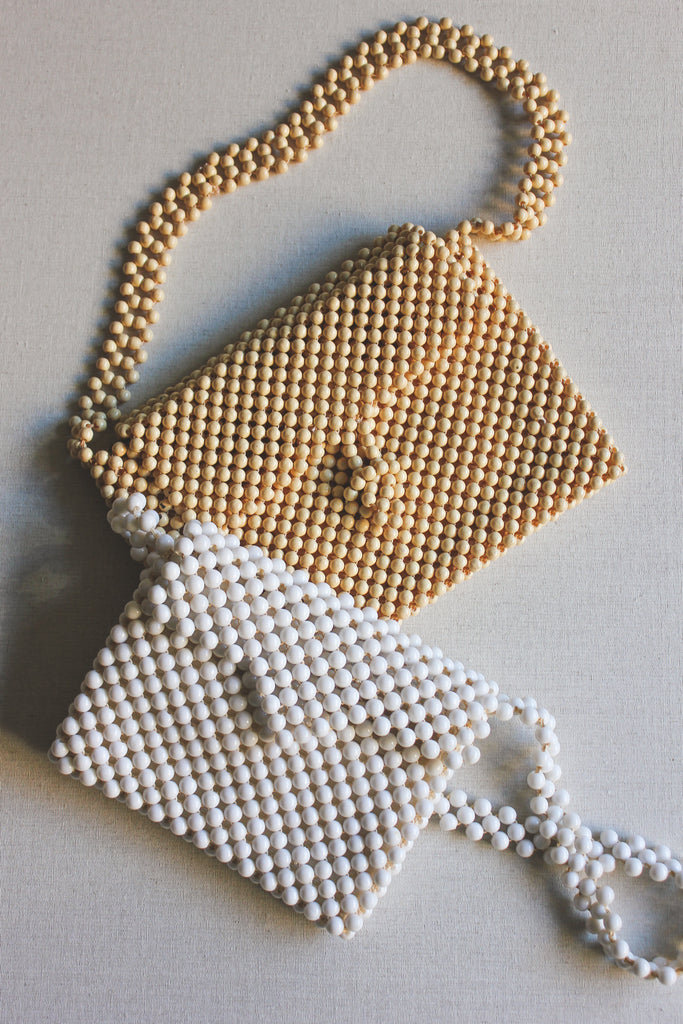 Vintage 1970s Beige Beaded Bag