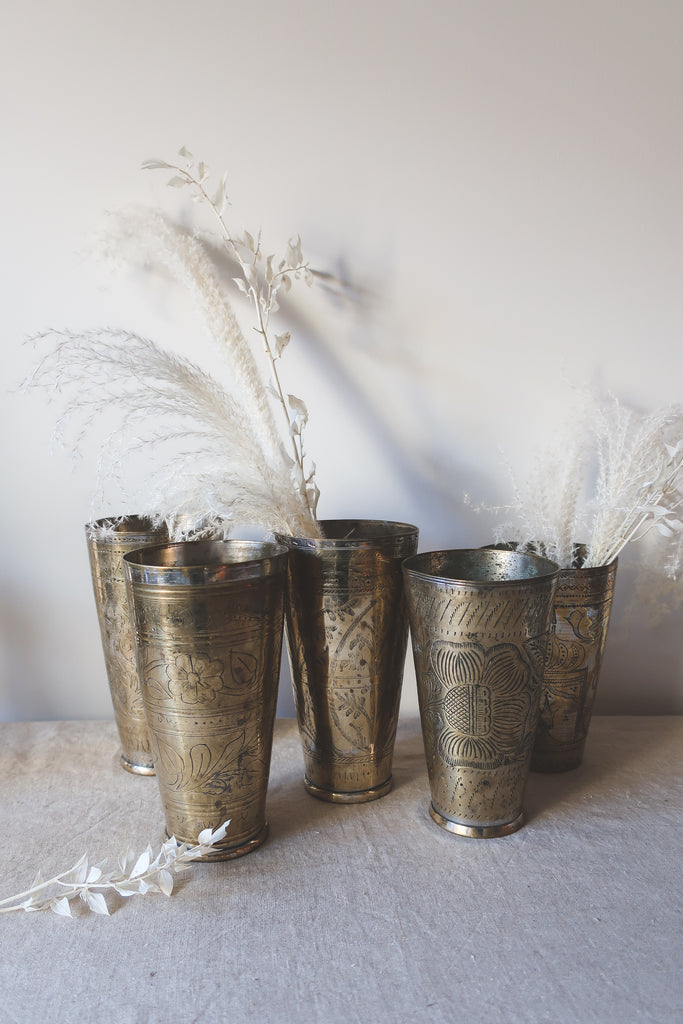 Vintage Brass Inlay Lassi Cups, Large