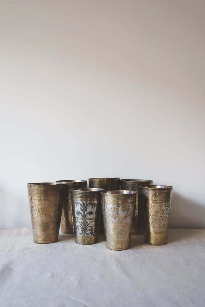 Vintage Brass Inlay Lassi Cups, Small