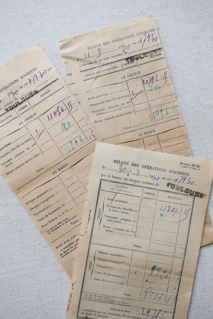 Vintage French Paper Receipts