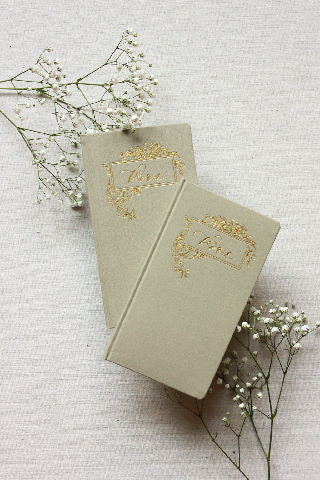 Linen Olive Grey Vow Journal Set by Seniman Calligraphy