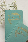 Teal Blue Linen Cover Vow Journal by Seniman Calligraphy