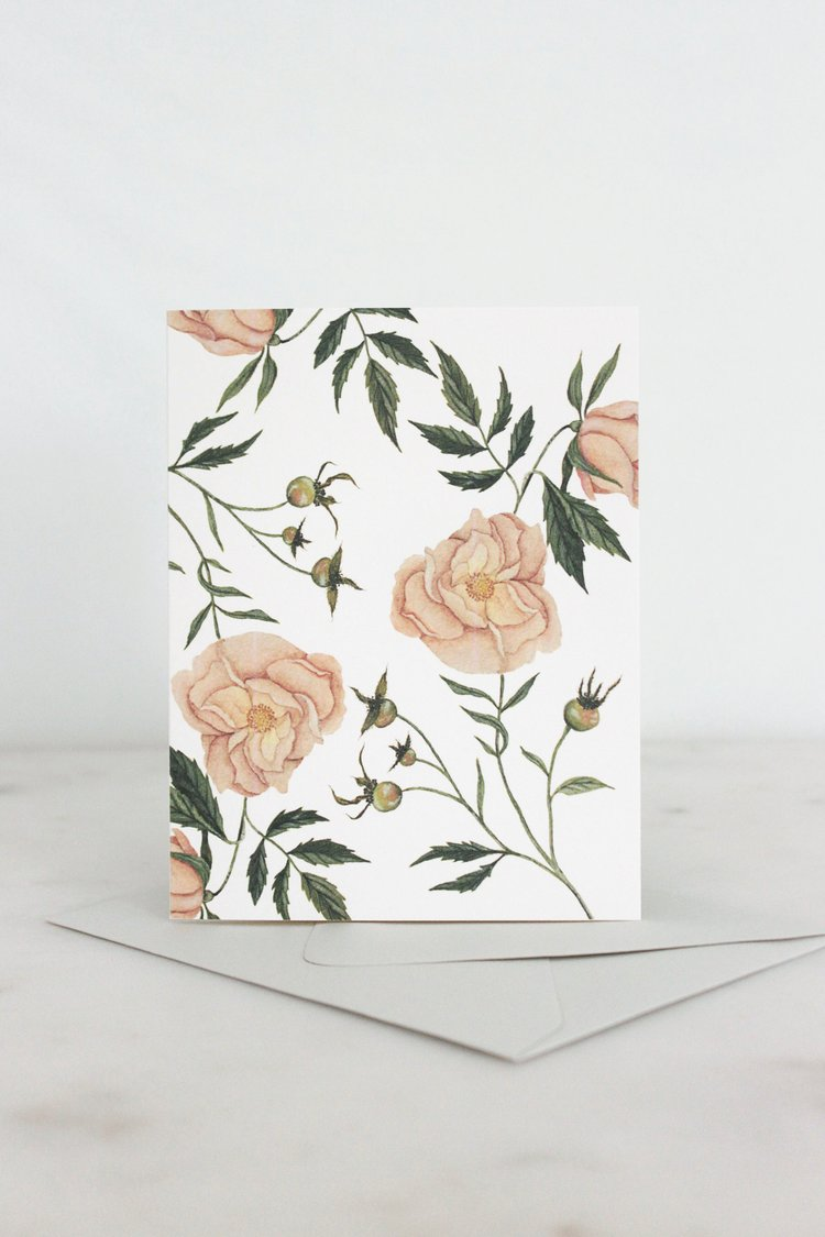 Watercolor Wild Rose Card
