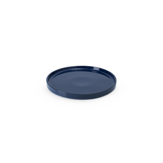 LAB plate dark blue shiny on charcoal clay