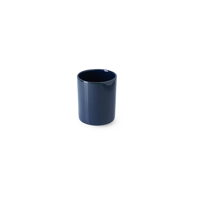 LAB mug dark blue shiny on charcoal clay (no handle without line)