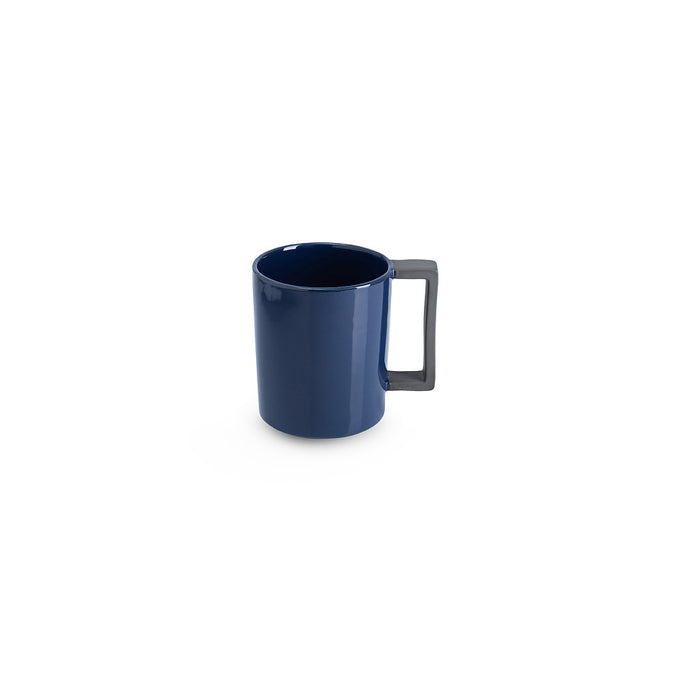 LAB mug dark blue shiny on charcoal clay (straight handle without line)