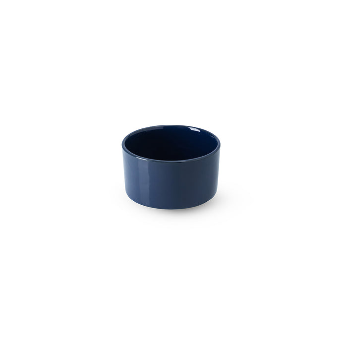 LAB bowl/large cup dark blue shiny on charcoal clay (no handle without line)
