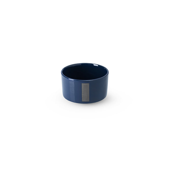 LAB bowl/large cup dark blue shiny on charcoal clay  (no handle with line)