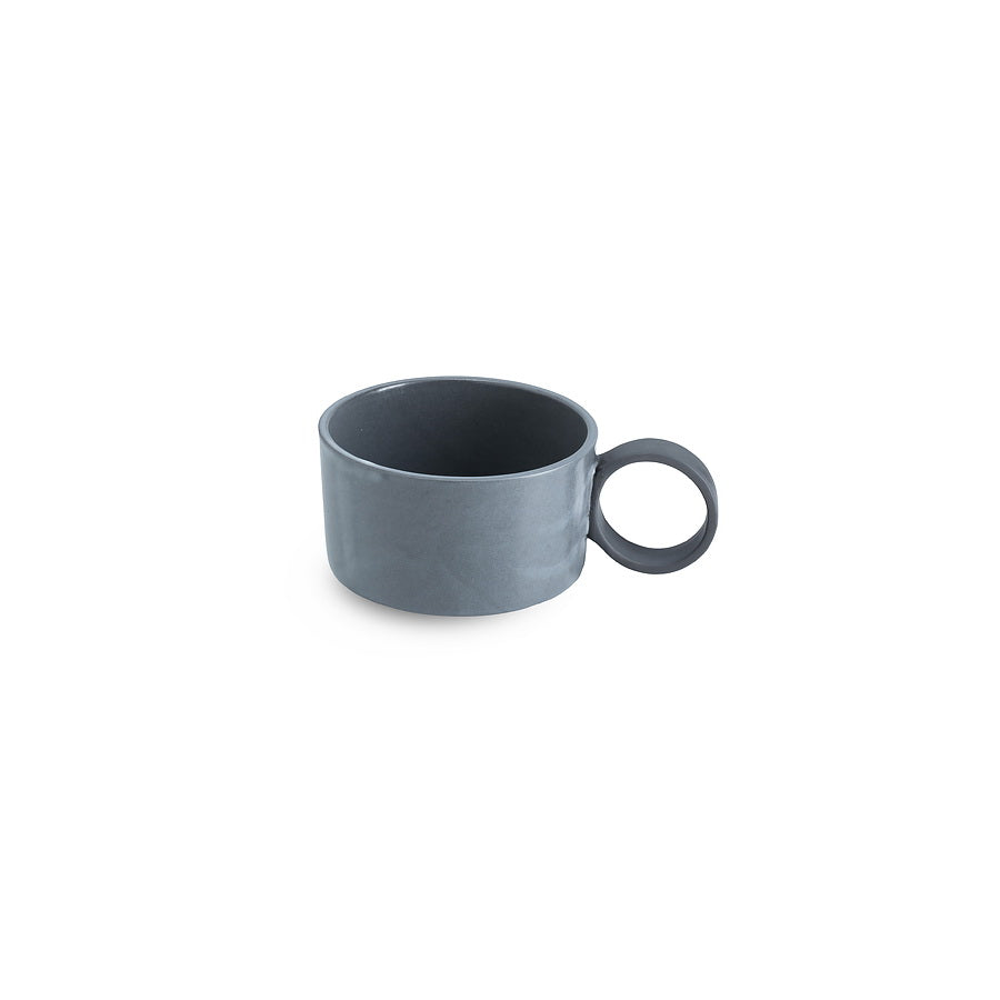 LAB bowl/large cup frost on charcoal clay (round handle without line)