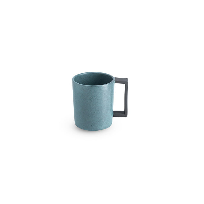 LAB mug speckled petrol on charcoal clay (straight handle without line)