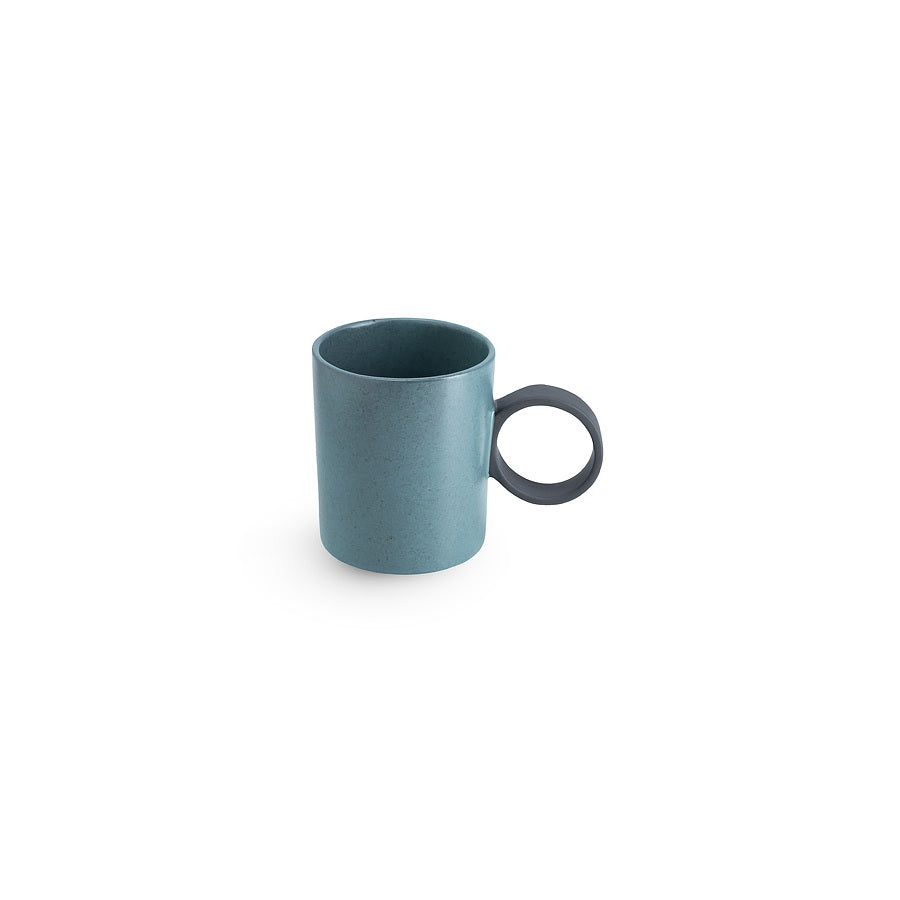LAB mug speckled petrol on charcoal clay  (round handle without line)