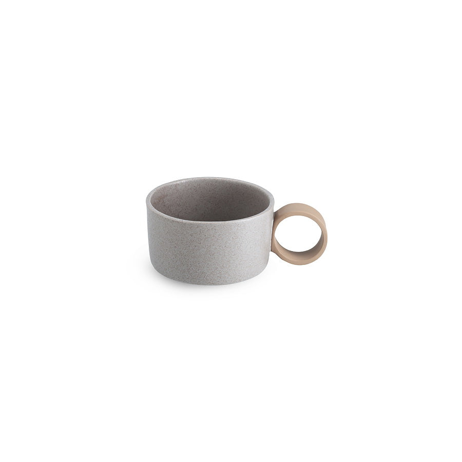LAB bowl/large cup speckled greige matt on brown clay (round handle without line)