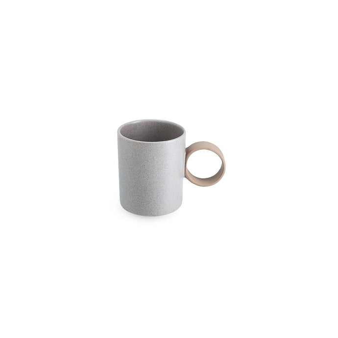 LAB mug speckled greige matt on brown clay (round handle without line)