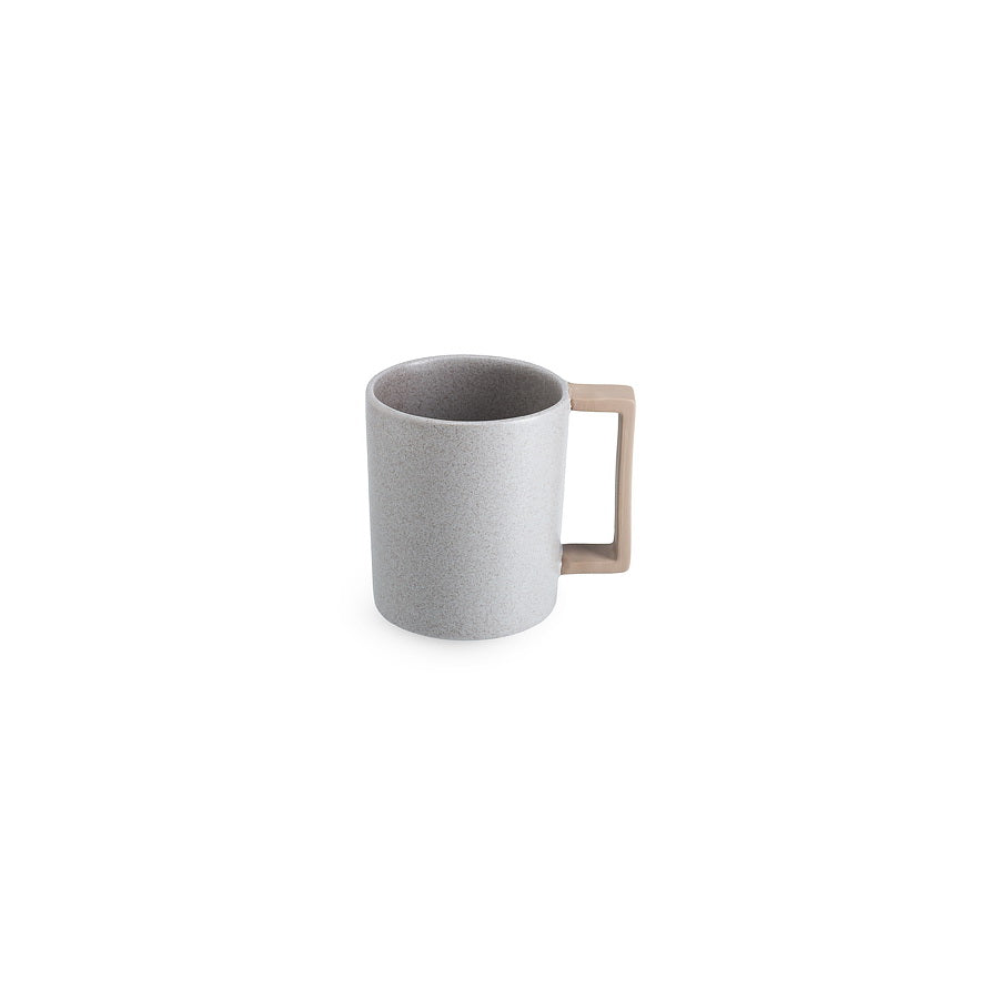 LAB mug speckled greige matt on brown clay (straight handle without line)