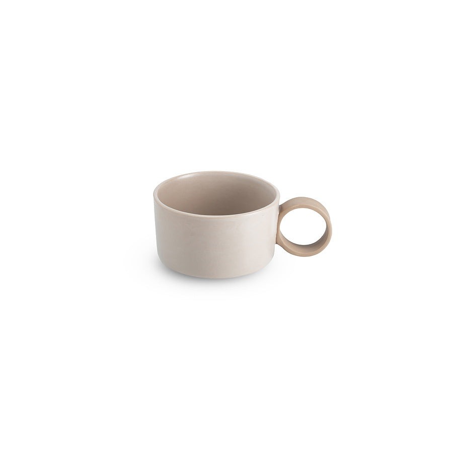 LAB bowl/large cup frost on brown clay (round handle without line)