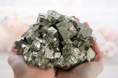 XL Pyrite Specimen. One of the most popular crystals for healing the Solar Plexus Chakra, Pyrite's golden color and shine  infuse the energy of the sun into our being and fill our days with energizing light.